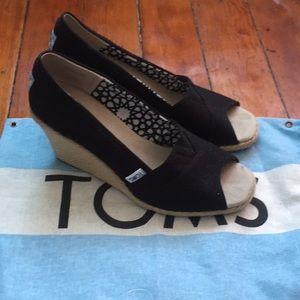 Black Toms Peep Toe Espadrille Wedge